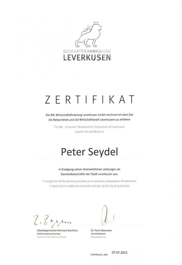 Standortbotschafter Leverkusen - Peter Seydel
